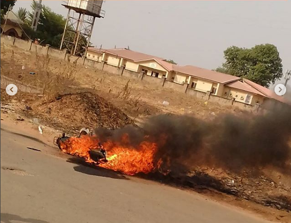 Accident Spree As Motorcycle Burst Into Flames In Uniabuja
