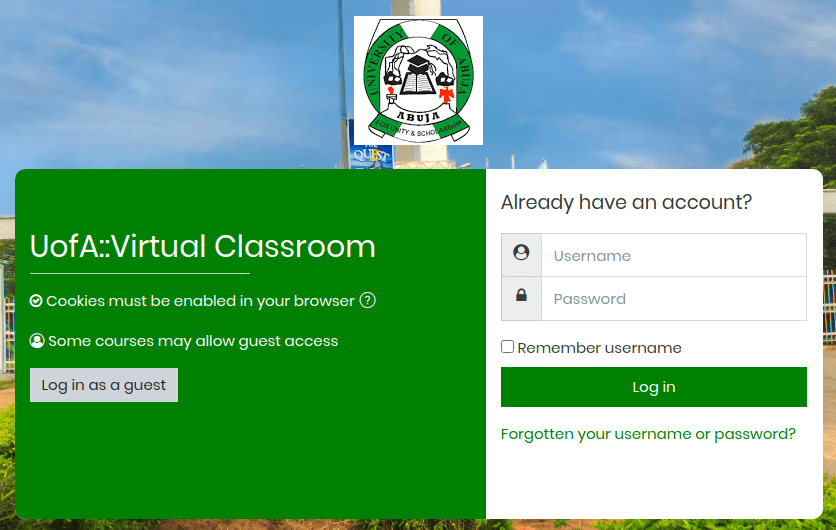 uofa e-learning system login page