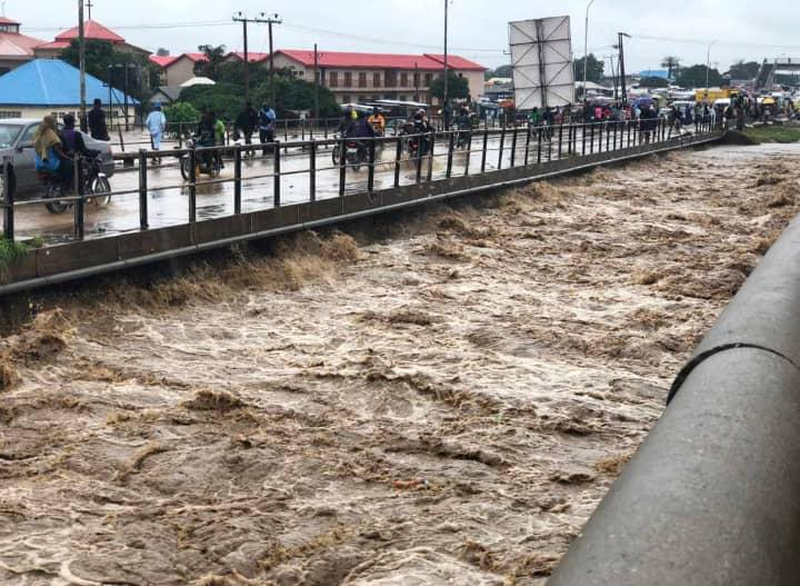 Gwagwalada bridge almost submerged by the waters