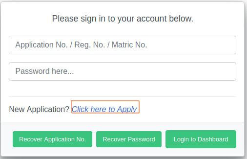UniAbuja portal home page for post utme application
