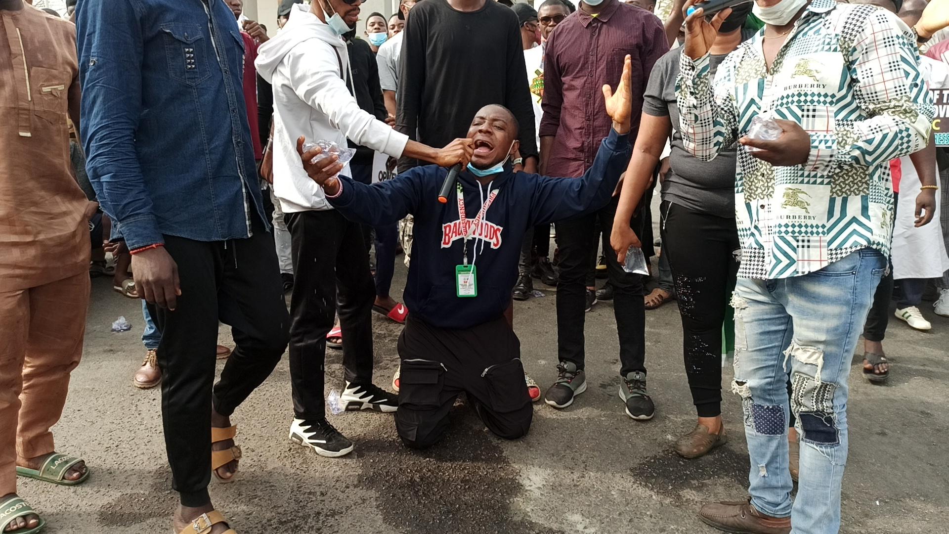 Uniabuja SUG president at protest venue