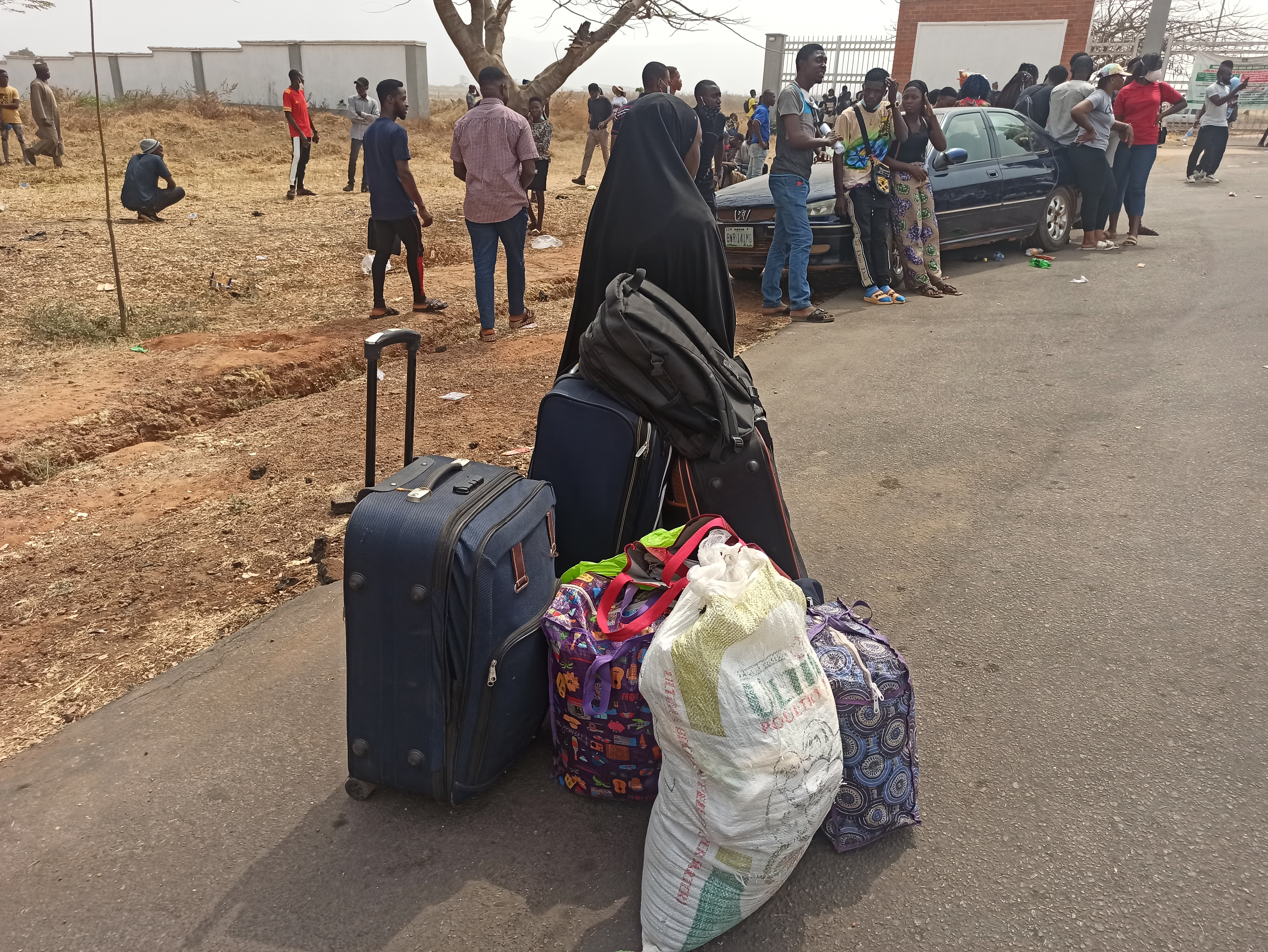 Belongings of stranded students at the uniabuja peaceful protest