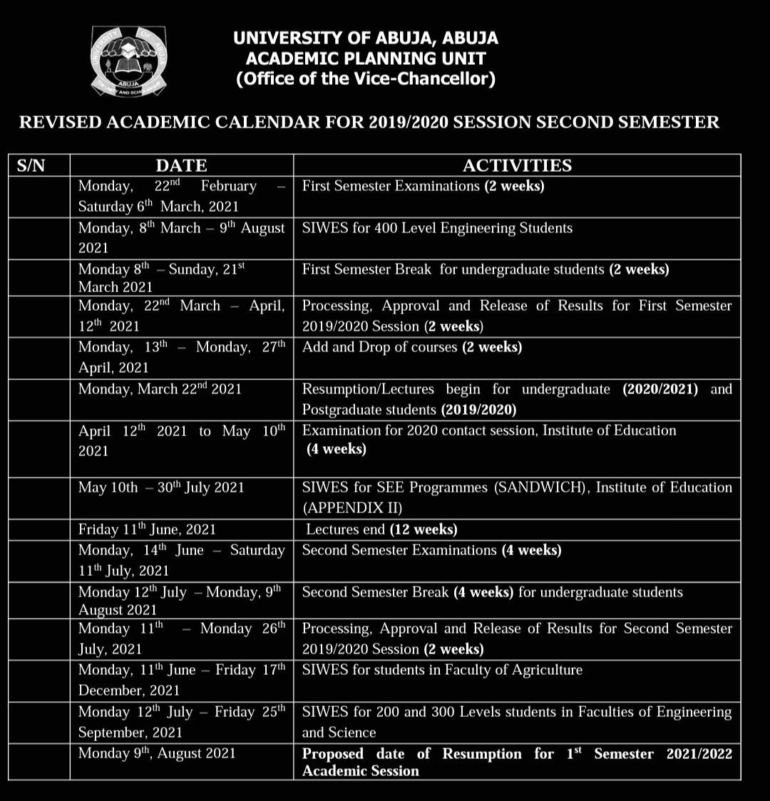Timetable as at first semester examinations